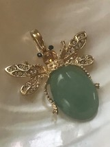 Estate Green Oval Stone Jelly Belly Beetle Bug Insect with Clear Rhinestone Acce image 2