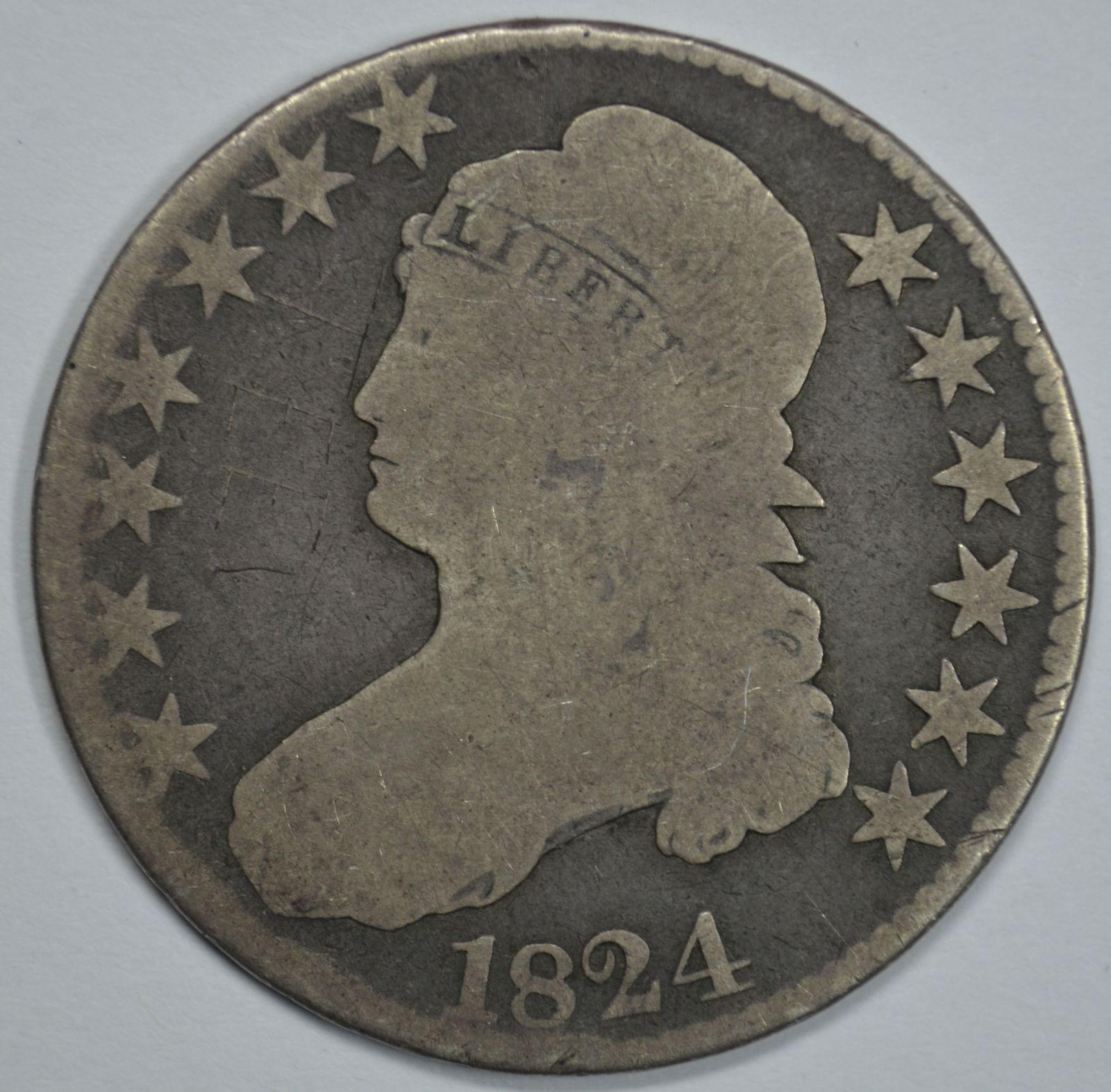 Primary image for 1824 Capped Bust circulated silver half dollar AG/G details