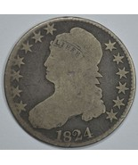 1824 Capped Bust circulated silver half dollar AG/G details - $45.00