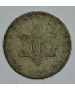 1853 3 cent circulated silver coin VG details - $33.00