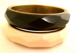 SET of 2 Bracelets BANGLE Black and Cream Butter Beveled Plastic Brass Bronze  - $80.00