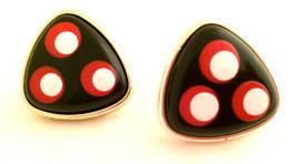 Sailing Red White Black Gold Modernist Bold Statement Earrings Vintage J... - $25.00