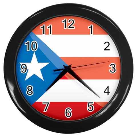 Puerto Rico Custom Black Wall Clock