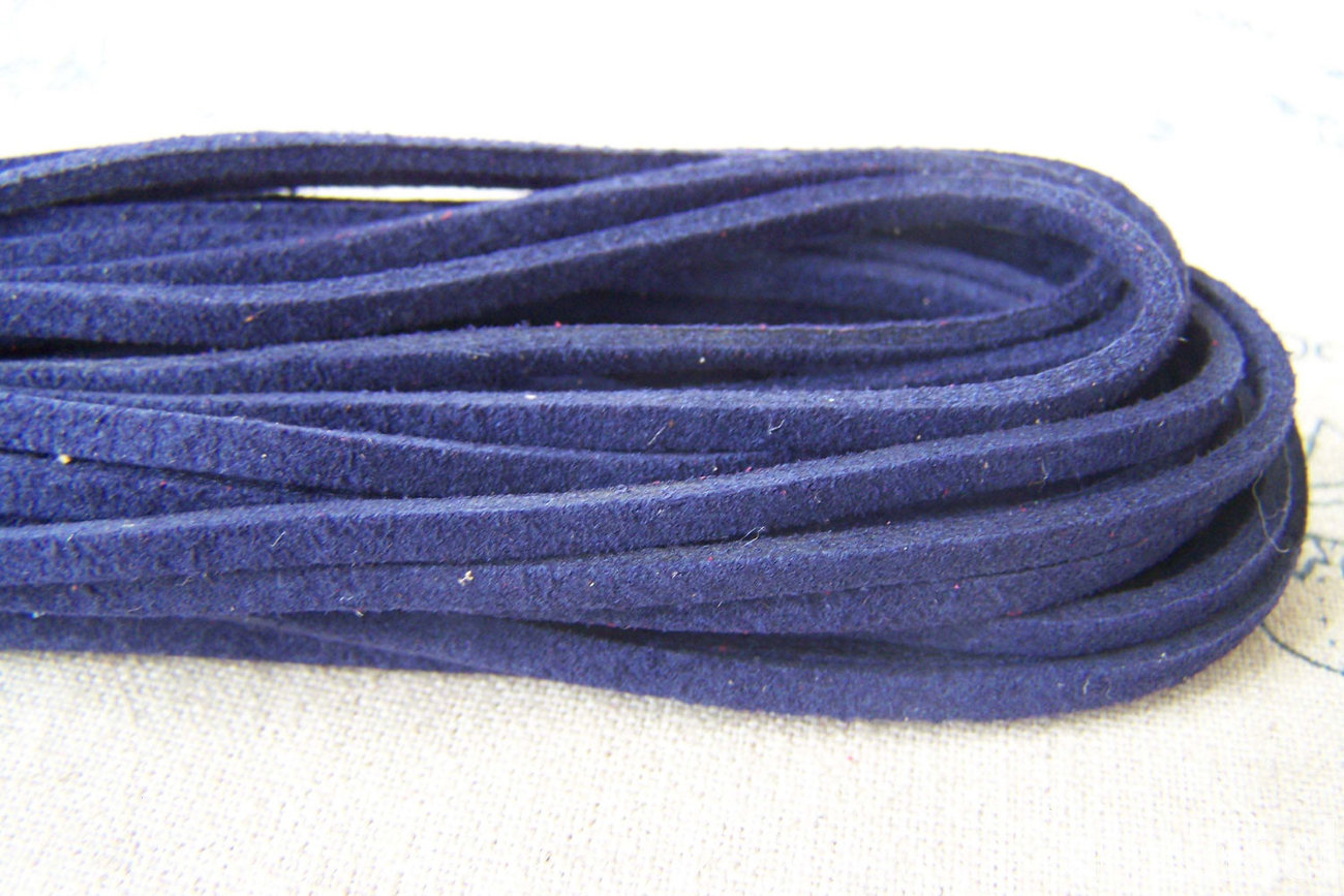10 meters of Dark Blue Square Artificial Leather Ribbon Cords String A709