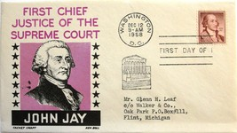 December 12, 1958 First Day of Issue, Ken Boll Cover, John Jay #35 - $1.44