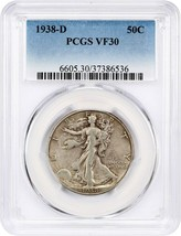 1938-D 50c PCGS VF30 - Low Mintage Issue - Walking Liberty Half Dollar - $126.10