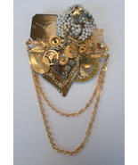 """Pin Gold tone Clock Parts Pearls Artisan Designed Signed 1991"""" - $25.43"""