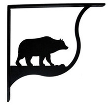 "Wall Shelf Bracket Pair Of 2 Bear Pattern Wrought Iron 9.25"" L Crafting ... - $49.99"