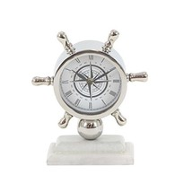 """Deco 79 43509 Stainless Steel and Marble Ships Wheel Table Clock, 8"""" x 7... - $41.68"""