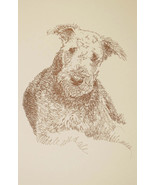 AIREDALE TERRIER DOG ART PRINT #68 Kline draws your dogs name free. WORD DRAWING - $49.95