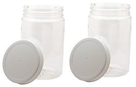 2x 32oz Clear Round Wide Mouth PET Plastic Jars W/ Caps 967ml Storage Co... - $10.35