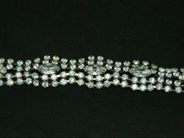 Art Deco Style Rhodium Silver Tone Clear CZ Rhinestone Wide Bracelet (B) - $89.09