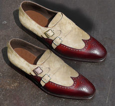 handmade leather dress shoes for men two tone leather monk shoes for men - $169.90+
