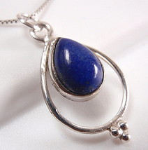 Lapis Necklace 925 Sterling Silver Teardrop in Hoop Silver Dot Accents New - $17.58