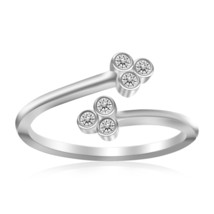 Womens Sterling Silver Rhodium Plated Flower Themed Cubic Zirconia Toe Ring - $21.77