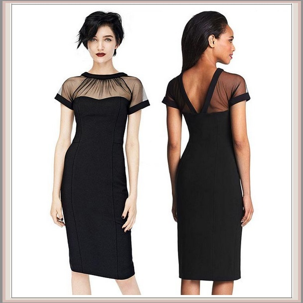 Classic Black Knee Length Sheath Marilyn Style Dress with Transparent Top