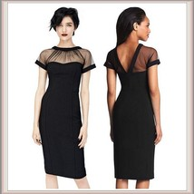 Classic Black Knee Length Sheath Marilyn Style Dress with Transparent Top - $53.95