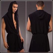 Luxury Soft Silk Hooded Leisure Beach Bath Lounge Robe White Black Gray or Brown image 2
