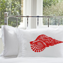 One Red Conch Shell Nautical Pillowcase pillow cover ocean sea week - $15.98