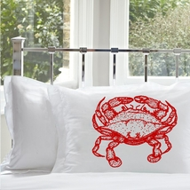 Two for 25 Red Crab White Nautical Standard Pillowcase pillow cover case - $24.98