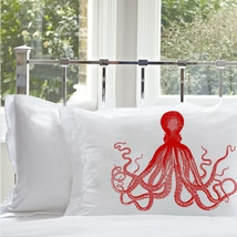 One Red Deep Sea Octopus Ocean Beach Nautical Standard Pillowcase - $15.98