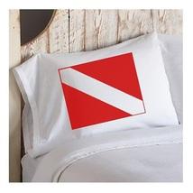 Red Diver Flag Pillowcase nautical bedroom cabi... - $15.98