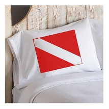 Two for 25 Red Diver Flag Pillowcase nautical bedroom cabin lake pillow case cov - $24.98