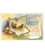 Cherry Harvest Thanksgiving vintage postcard International Art maple lea... - $6.50