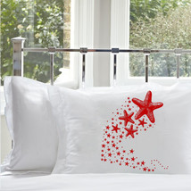 Two for 25 Red Shooting Starfish star fish Nautical Pillowcase pillow cover ocea - $24.98