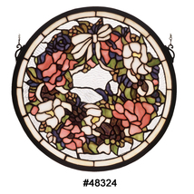 "Meyda 15""W X 15""H Wreath & Garland Medallion Stained Glass Window - 1235... - $187.11"