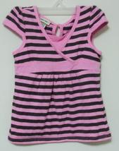 Toddler Girls Cherokee Pink Black Stripe Cap Sleeve Top Size 4T - $3.95