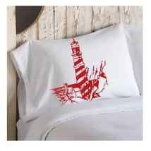 One Red Striped Light House Nautical Pillowcase pillow cover lighthouse - $15.98