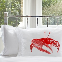 One Red Fiddler Crab Pillowcase sailor nautical pillow case - $15.98