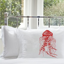 Two for 25 Red Jellyfish jelly fish Pillowcase pillow case cover nautical beddin - $24.98