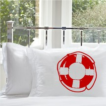 Two for 25 Red Life Saver Nautical Pillowcase pillow cover ocean sea week - $24.98