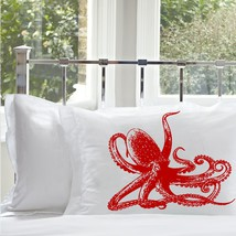 Two for 25 Red Ruby Octopus Ocean Beach Pillowcase Pillow Case Cover - $24.98