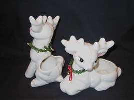 Ceramic pair 9x7 baby reindeer buck potpourri trinket containers centerp... - $38.99