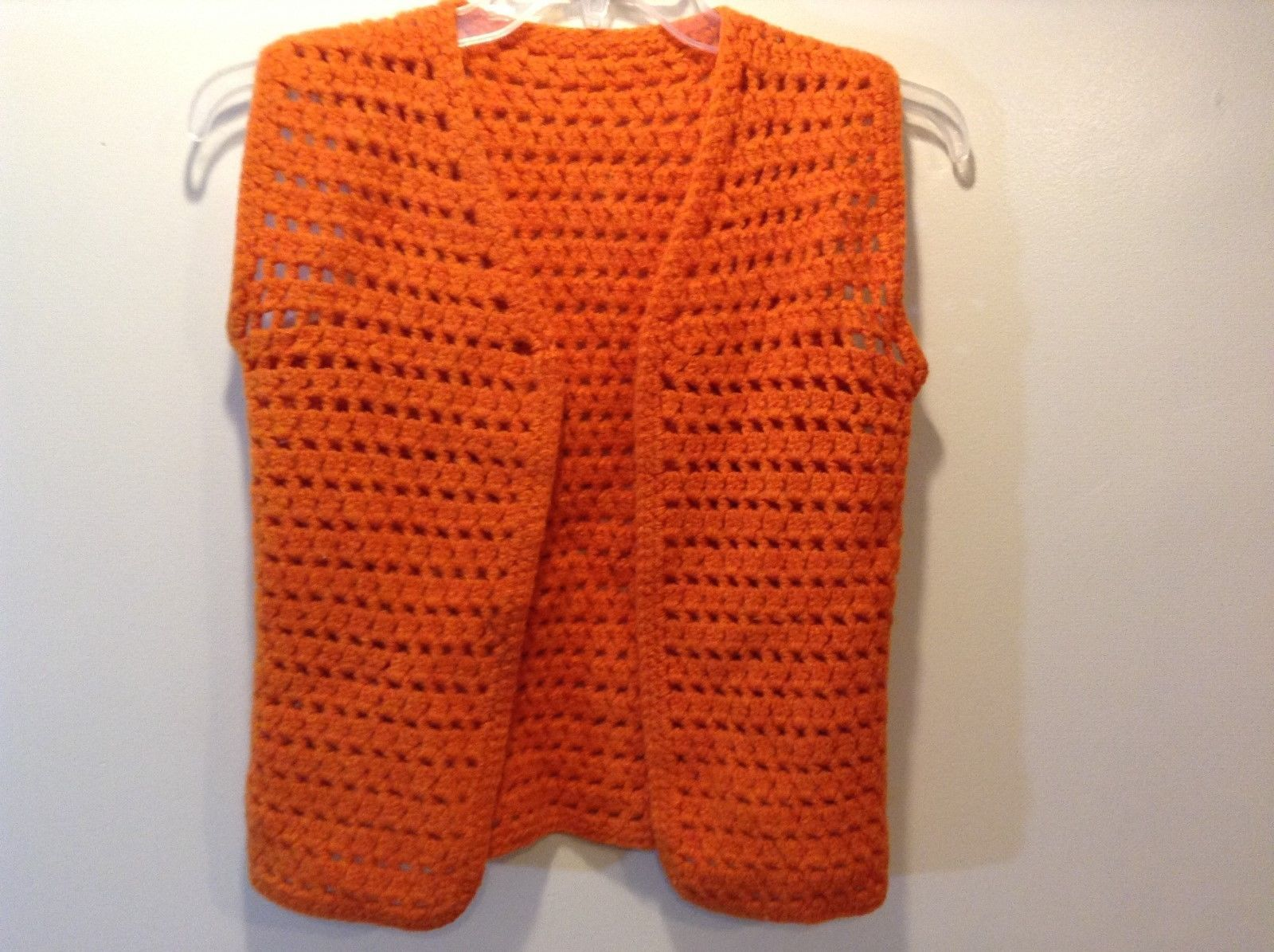 Ladies Orange Loose Knit Sleeveless Sweater-vest