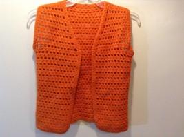 Ladies Orange Loose Knit Sleeveless Sweater-vest