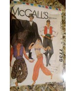 McCall Mens Women's Costume # 7739 LARGE 20 Pattern Pieces 1981 Sewing - $6.92