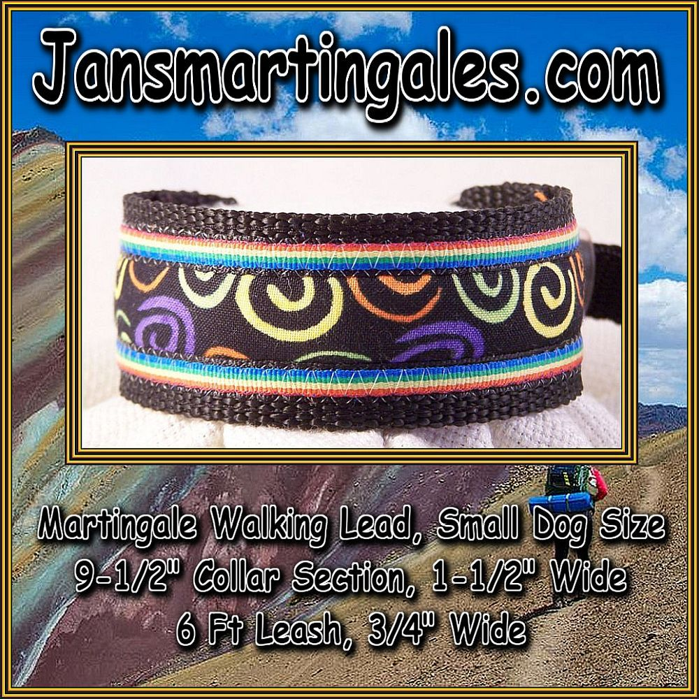Jansmartingales, Martingale Collar/Leash Combination, Small Dog Size, iblk217