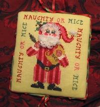 Naughty or Nice Santa christmas cross stitch chart Tempting Tangles - $9.00