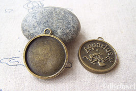 10 pcs of Antique Bronze Aquarius Water-Bearer Round Base Setting Charms... - $3.45