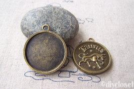 10 pcs of Antique Bronze Taurus Bull Constellation Round Base Setting Ch... - $3.45