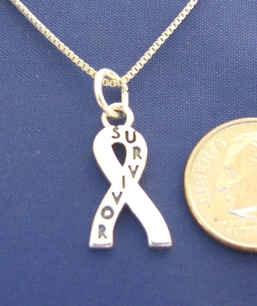 ccj SURVIVOR RIBBON 18 Inch Necklace 925 Silver N82.E