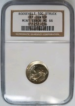Roosevelt Dime NGC MS 66 Broadstruck Offcenter Collar Mint Error Old Holder - $99.99