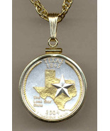 State of Texas,  2-Toned, Gold on Silver, U.S.Quarter Pendant Necklace - $85.00