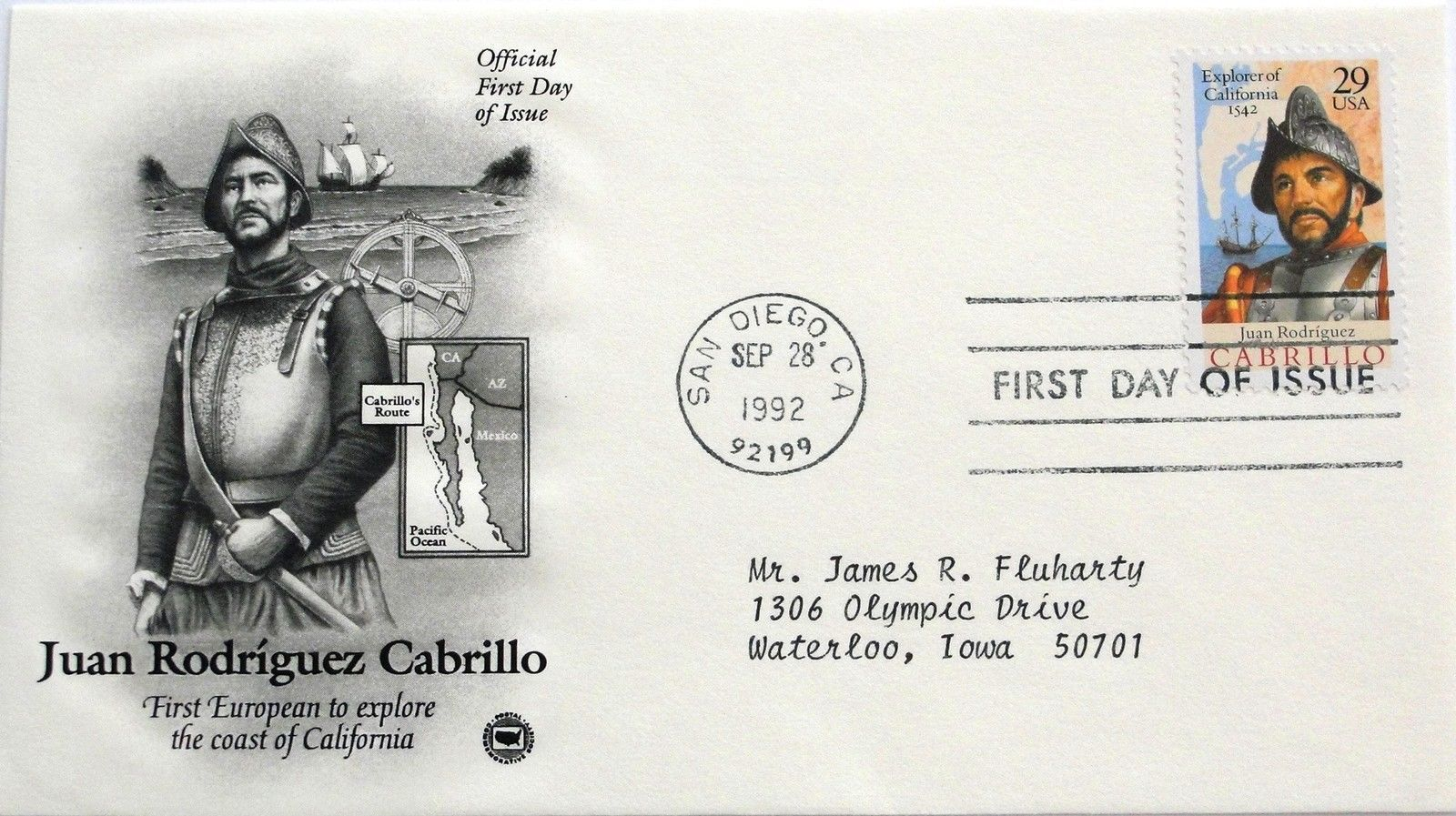 Sept. 28, 1992 First Day of Issue, PC Society Cover, Juan Rodriguez Cabrillo #31