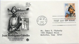 Sept. 28, 1992 First Day of Issue, PC Society Cover, Juan Rodriguez Cabrillo #31 - $1.48