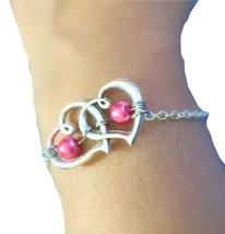 Silver Double Heart Bracelet Glass Pearl Bracelet Silver Heart Charm Bra... - $7.50